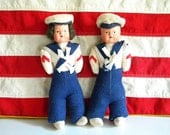 Vintage Pair of Navy Sailor Dolls with Celluloid Faces and Felt Bodies Boy and Girl