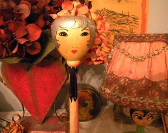 Vintage 1920's Flapper Girl Hat Stand Hand Painted Face and Silver Hair