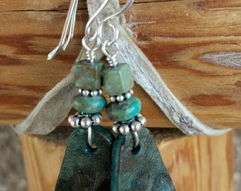 Turquoise Leather Earrings - Hand Tooled Earrings - Genuine Turquoise- Sterling Silver - Western Jewelry - Cowgirl Earrings