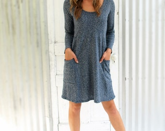 Hemp Pocket Dress, Organic Cotton Dress with Length Sleeves