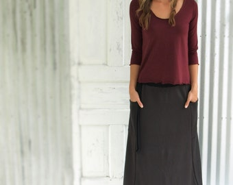 Bamboo Fleece Full Length Pocket Skirt
