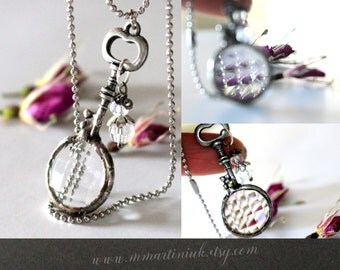 Skeleton Key Prism Necklace Festival Fun Tiny Kaleidoscope Necklace Crystal Clear Fractal Looking Glass Silver Key Pendant Crystal Necklace