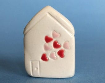 Little Hearts Valentine House Collectible Ceramic Miniature Clay House Red Pink White