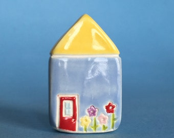 Little flower House Collectible Ceramic Miniature Clay House yellow blue