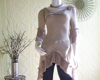 Size Small 6/8 Women's Upcycled  Knit Top/Ecru/Boho Chic/by Brenda Abdullah