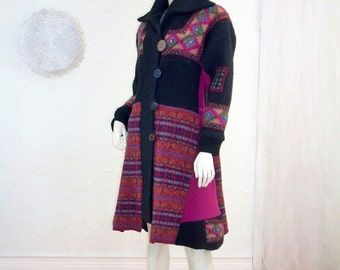 Upcycled Sweater Coat/Tailored Nordic Pattern/Fuschia/Black/Jewel Tone/Size Small 8/10