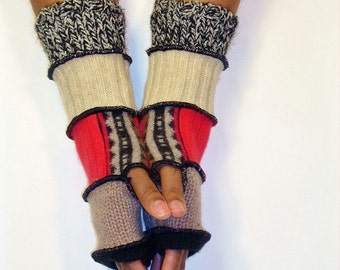 Fingerless Gloves, Arm Warmers, Patchwork Gloves (Black/Putty/Patched Red and Print/Beige/Black and Cream Tweed)