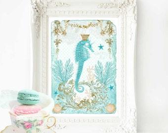 Seahorse print, beach house, nautical art coastal decor in blue, A4 giclee