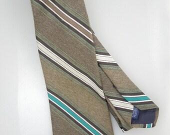 Vintage Men's Neck Tie// Khaki & Teal Stripe// Polyester Tie // 1970's Fashion
