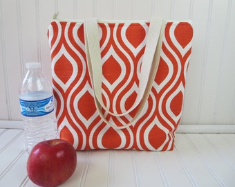 Insulated Lunch Tote - Lunch Bag - Deluxe Lunch Tote - Lunch Tote Bag - Large Lunch Tote - Monogrammed Lunch Bag - Teacher Gift - Orange Bag