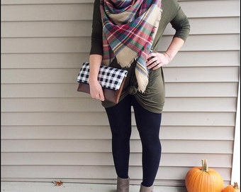 Monogram Clutch - Plaid Clutch - Gingham Foldover Clutch - Buffalo Plaid Clutch - Black White Clutch - Zippered Clutch - Gingham Purse