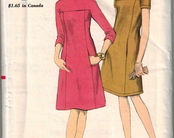 1960s Vogue 6992 Retro Mod Dress Sewing Pattern Vintage Size 10 Jackie O UNCUT