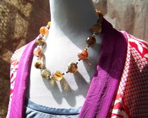 Fire Agate Necklace   Amber Chunky Necklace with Vintage Miriam Haskell Beads   Brass, Copal, Stone Jewelry