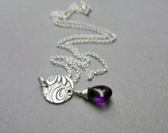Amethyst Necklace Purple Necklace Amethyst Jewelry Silver Charm PMC February Birthstone Gemstone Pendant Gemstone Necklace Sterling Silver