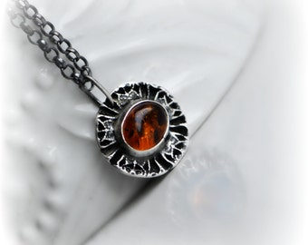 50% SALE : amber pendant necklace, ~ The AMBRE TRÉSOR Necklace ~ handcrafted silver circle pendant & beautiful oval Amber gem by Emilie Gray