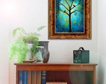 Teal Wall Art, Tree of Life, Boho Home Decor, Bird Art Print, Turquoise, Twilight Moon Bohemian Decor | Various Sizes