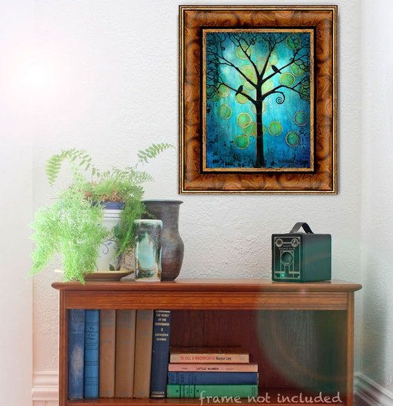Vintage Teal Wall Decor : Teal wall art tree of life boho home decor bird print