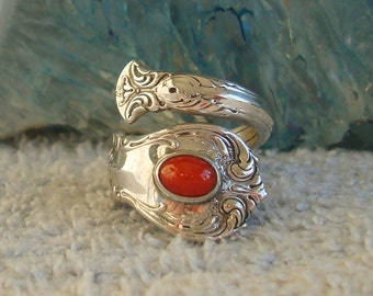 Vintage Carnelian Stone Towle Sterling Spoon Ring Old Master dmfsparkles