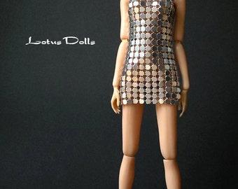 Silver Mini - Metal Mesh dress for Momoko