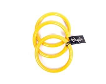 Vintage Bangle Bracelets - Yellow Bangle Bracelets - 60s Bangles - 60s Bracelets - 60s Yellow - Mod - NOS - Plastic Bangles - 60s Plastic