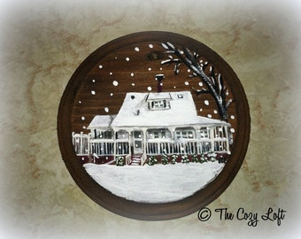 Primitive Custom Home Painting! Rustic Wood Ornament Cottage Log Cabin House Snow Scene