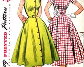 UNCUT Simple to Make 1950's Full Skirted Shirt Dress Bust 34 Simplicity 3851