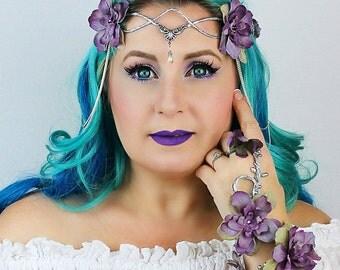 Flower Crown in Silver and Lavender, Wedding Headpiece, Wedding Accessory,Wedding Wreath, Floral Crown, Fairy, Renaissance, Costume