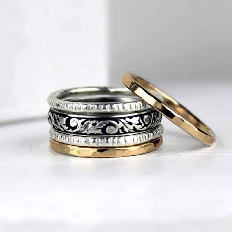 gold and silver stack rings mixed metal stacking rings with. Black Bedroom Furniture Sets. Home Design Ideas
