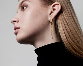 Naomi Earrings, Long Chain Earrings, Chain Earrings, Long Post Earrings, Geometric Earrings, Gold Dangle Earrings, Architectural Earrings