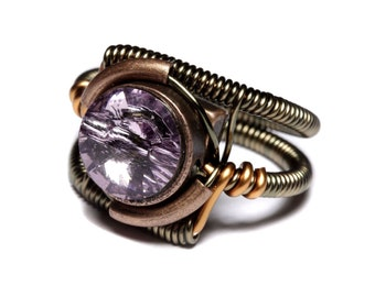 Steampunk Jewelry - Ring - Light Amethyst Svarovski Crystal