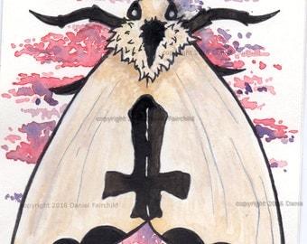 Goth Moth - Mini Watercolor