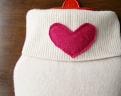 Valentine Gift for Her. Cashmere Hot Water Bottle Cover. Gift for Grandma. Ivory with Pink Heart. Eco Friendly Gift. Hot Water Bottle Sleeve