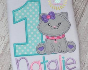 1st birthday Kitty Shirt - First Birthday Kittens -  Birthday - Kitten - Kitty - Cats - appliqué shirt - Personalized - Monogrammed
