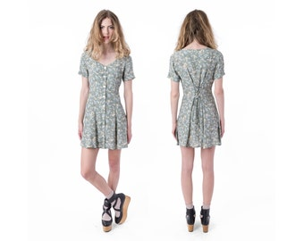 90s DRESS mini FLORAL vintage women Small / Xs spring flower print Short Sleeves pale green / better Stay together