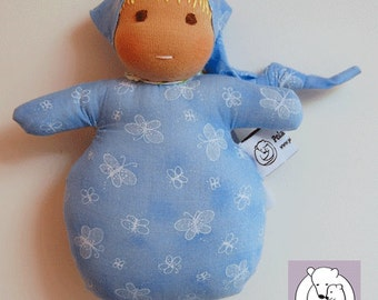 Waldorf inspired Mini Baby ,Blue with Butterflies