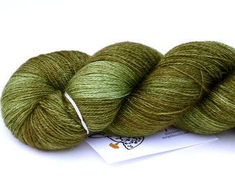 Forest Moss--hand dyed lace weight yarn, BFL and silk, (875yds/100gm)