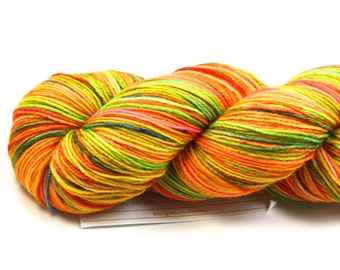 Tutti Frutti--hand dyed sock yarn, BFL and nylon, (464yds/100gm)
