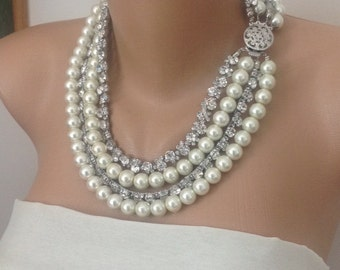 Ivory Pearl Necklace with Rhinestone Chain Trim, Brides Necklace,Wedding Pearls