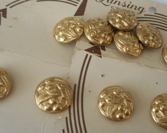 Set of 10 VINTAGE Cherry Fruit Gold Metal BUTTONS