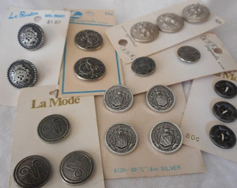 Lot Sets of VINTAGE Silver Metal Craft Sewing Buttons L121