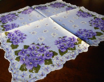 VINTAGE Purple Violet Flower Scallop Edge Handkerchief