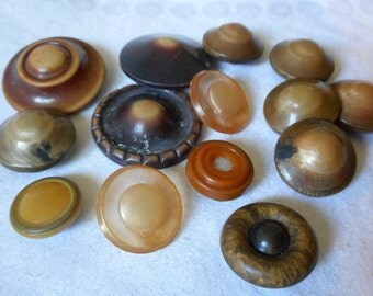 Lot of 13 VINTAGE Celluloid BUTTONS