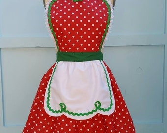 retro Christmas apron Red green Polka Dot full apron holiday hostess Santas helper apron or elf costume