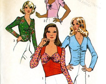 Simplicity 6575 Misses Stretch Knit Pullover Tops Sweetheart Neckline Sleeve Detail Size 16 Bust 38 Unuct Vintage Sewing Pattern 1974