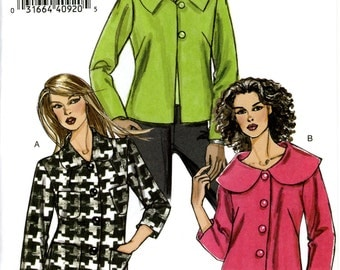 Vogue V8300 Very Easy Unlined Jackets with Collar Variations Size S M L 8 10 12 14 16 18 Uncut Sewing Pattern 2006