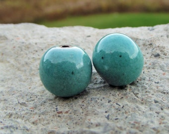 Enameled blue beads Turquoise Beads for jewelry making