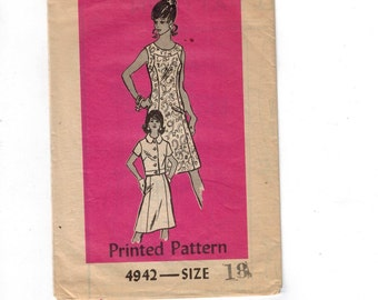 1970s Vintage Sewing Pattern Mail Order 4942 Misses A Line Skirt with Jacket Size 18 Bust 40 1970s 70s