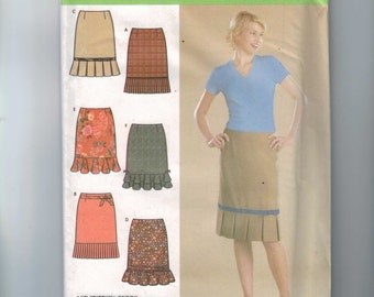 Misses Sewing Pattern Simplicity 4882 Misses Slim Skirt with Pleated Ruffle Size  14 16 18 20 22 UNCUT Multisize