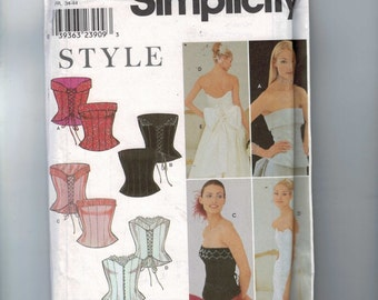 Misses Sewing Pattern Simplicity 9180 Misses Corset Top Bridal Laced Boned Size 6 8 10 12 14 16 Bust 30 31 32 34 36 38 UNCUT