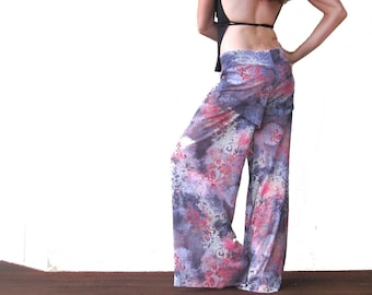 Sheer Shimmy Flow Pants - Pink and Green